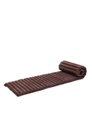 Leewadee Roll-Up Thai Mattress, 79x20x2 inches, Guest Bed space-saving for 1 person Yoga Floor Mat Thai Massage Pad Eco-Friendly Organic and Natural,  Kapok, brown