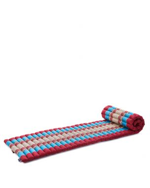 Leewadee Roll-Up Thai Mattress, 79x20x2 inches, Guest Bed space-saving for 1 person Yoga Floor Mat Thai Massage Pad Eco-Friendly Organic and Natural,  Kapok, blue red