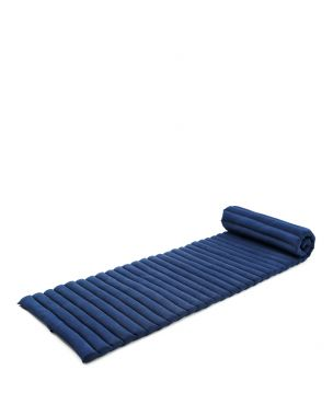 Leewadee Roll-Up Thai Mattress, 79x20x2 inches, Guest Bed space-saving for 1 person Yoga Floor Mat Thai Massage Pad Eco-Friendly Organic and Natural,  Kapok, blue