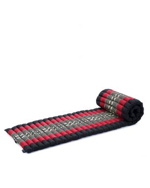 Leewadee Roll-Up Thai Mattress, 79x20x2 inches, Guest Bed space-saving for 1 person Yoga Floor Mat Thai Massage Pad Eco-Friendly Organic and Natural,  Kapok, black red