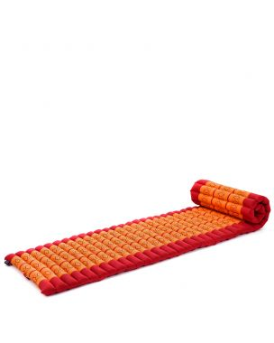 Leewadee Roll-Up Thai Mattress, 79x20x2 inches, Guest Bed space-saving for 1 person Yoga Floor Mat Thai Massage Pad Eco-Friendly Organic and Natural,  Kapok, orange red