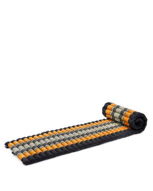 Leewadee Roll-Up Thai Mattress, 79x20x2 inches, Guest Bed space-saving for 1 person Yoga Floor Mat Thai Massage Pad Eco-Friendly Organic and Natural,  Kapok, black orange