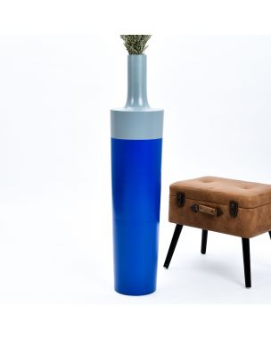 Leewadee Tall Big Floor Standing Vase For Home Decor 44 inches, Mango Wood, blue grey