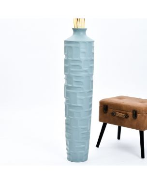 Leewadee Tall Big Floor Standing Vase For Home Decor 44 inches, Mango Wood, blue