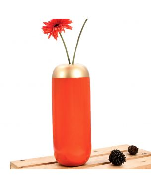 Leewadee Small Floor Standing Vase For Home Decor Centerpiece Table Vase, 7x16 inches, Mango Wood, orange