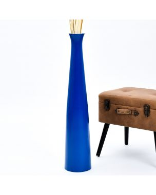 Leewadee Tall Big Floor Standing Vase For Home Decor 36 inches, Mango Wood, blue