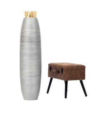 Leewadee Tall Big Floor Standing Vase For Home Decor 44 inches, Mango Wood, silver-coloured