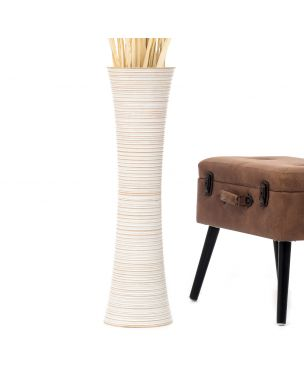 Leewadee Tall Big Floor Standing Vase For Home Decor 30 inches, Mango Wood, white wash