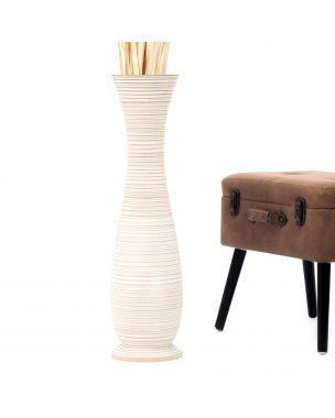 Leewadee Tall Big Floor Standing Vase For Home Decor 30 inches, Mango Wood, white wash