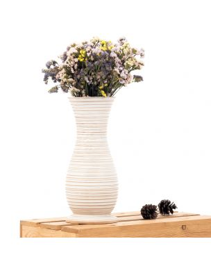 Leewadee Small Floor Standing Vase For Home Decor Centerpiece Table Vase, 7x15 inches, Mango Wood, white wash