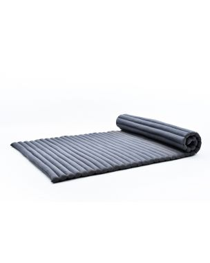 Leewadee XL Roll-Up Thai Mattress Twinsize Guest Bed Yoga Floor Mat Thai Massage Pad Eco-Friendly Organic and Natural, 200x105x5 cm, Kapok, anthracite