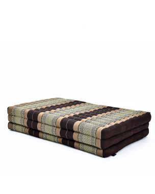 Leewadee Large Foldable Thai Mattress, 82x46x3 inches, Guest Bed Tri-Fold Yoga Floor Mat Thai Massage Pad TV Floor Seat with Backrest Game Chair Eco-Friendly Organic and Natural,  Kapok, brown