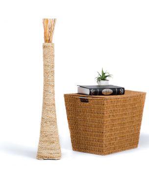 Leewadee Tall Big Floor Standing Vase For Home Decor 30 inches, Water Hyacinth, ecru