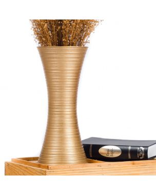 Leewadee Small Floor Standing Vase For Home Decor Centerpiece Table Vase, 7x16 inches, Mango Wood, golden