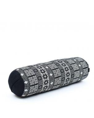 Leewadee Long Yoga Bolster Supportive Pilates Roll Cushion Neck Pillow Eco-Friendly Organic and Natural, 25.5x10x10 inches, Kapok, black