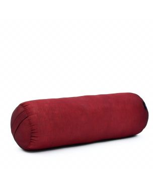 Leewadee Long Yoga Bolster Supportive Pilates Roll Cushion Neck Pillow Eco-Friendly Organic and Natural, 25.5x10x10 inches, Kapok, red