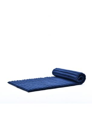 Leewadee Roll-Up Thai Mattress, 200x76x5 cm, Guest Bed Yoga Floor Mat Thai Massage Pad Eco-Friendly Organic and Natural,  Kapok, blue