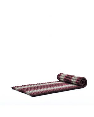 Leewadee Roll-Up Thai Mattress, 200x76x5 cm, Guest Bed Yoga Floor Mat Thai Massage Pad Eco-Friendly Organic and Natural,  Kapok, brown red