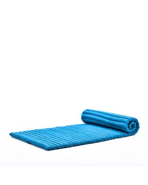 Leewadee Roll-Up Thai Mattress, 200x76x5 cm, Guest Bed Yoga Floor Mat Thai Massage Pad Eco-Friendly Organic and Natural,  Kapok, light blue