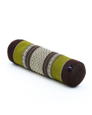 Leewadee Small Yoga Bolster Pilates Supportive Roll Cushion Neck Pillow Eco-Friendly Organic and Natural, 21.5x6x6 inches, Kapok, brown green