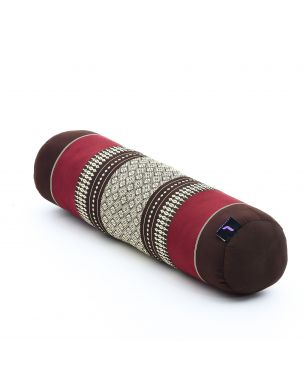Leewadee Small Yoga Bolster Pilates Supportive Roll Cushion Neck Pillow Eco-Friendly Organic and Natural, 21.5x6x6 inches, Kapok, brown red