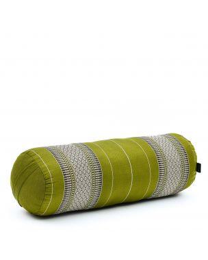 Leewadee Long Yoga Bolster Supportive Pilates Roll Cushion Neck Pillow Eco-Friendly Organic and Natural, 25.5x10x10 inches, Kapok, green