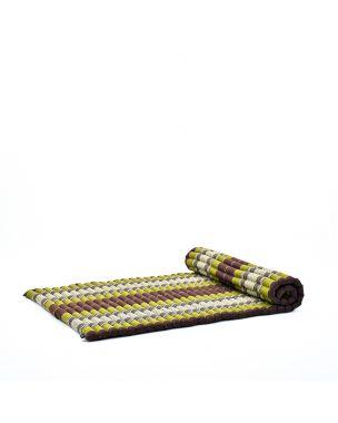 Leewadee Rollbare XL Thai Matte, 200x105x5 cm, Breite Gästematratze Yogamatte Massagematte Ökologisches Naturprodukt,  Kapok, braun grün