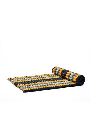 Leewadee Rollbare XL Thai Matte, 200x105x5 cm, Breite Gästematratze Yogamatte Massagematte Ökologisches Naturprodukt,  Kapok, orange schwarz