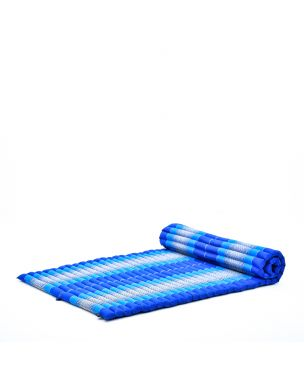 Leewadee XL Roll-Up Thai Mattress Twinsize Guest Bed Yoga Floor Mat Thai Massage Pad Eco-Friendly Organic and Natural, 200x105x5 cm, Kapok, blue