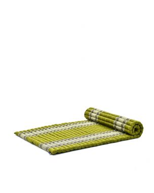 Leewadee XL Roll-Up Thai Mattress Twinsize Guest Bed Yoga Floor Mat Thai Massage Pad Eco-Friendly Organic and Natural, 200x105x5 cm, Kapok, green