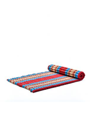 Leewadee XL Roll-Up Thai Mattress Twinsize Guest Bed Yoga Floor Mat Thai Massage Pad Eco-Friendly Organic and Natural, 200x105x5 cm, Kapok, blue red