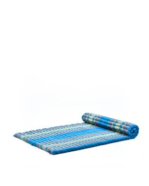 Leewadee XL Roll-Up Thai Mattress Twinsize Guest Bed Yoga Floor Mat Thai Massage Pad Eco-Friendly Organic and Natural, 79x41x2 inches, Kapok, light blue