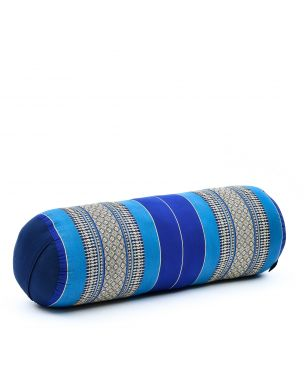Leewadee Long Yoga Bolster Supportive Pilates Roll Cushion Neck Pillow Eco-Friendly Organic and Natural, 25.5x10x10 inches, Kapok, blue