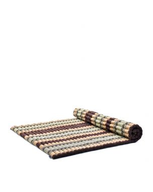 Leewadee Roll-Up Thai Mattress, 79x59x2 inches, Guest Bed Yoga Floor Mat Thai Massage Pad XL Twinsize Eco-Friendly Organic and Natural,  Kapok, brown