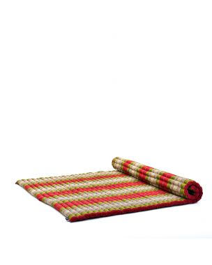 Leewadee Roll-Up Thai Mattress, 79x57x2 inches, Guest Bed Yoga Floor Mat Thai Massage Pad XL Twinsize Eco-Friendly Organic and Natural,  Kapok, green red