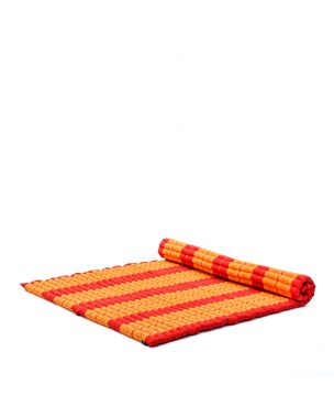 Leewadee Roll-Up Thai Mattress, 200x150x5 cm, Guest Bed Yoga Floor Mat Thai Massage Pad XL Twinsize Eco-Friendly Organic and Natural,  Kapok, orange red