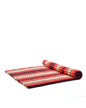 Leewadee Roll-Up Thai Mattress, 200x150x5 cm, Guest Bed Yoga Floor Mat Thai Massage Pad XL Twinsize Eco-Friendly Organic and Natural,  Kapok, red