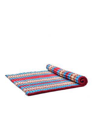 Leewadee Roll-Up Thai Mattress, 200x150x5 cm, Guest Bed Yoga Floor Mat Thai Massage Pad XL Twinsize Eco-Friendly Organic and Natural,  Kapok, blue red