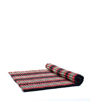 Leewadee Roll-Up Thai Mattress, 79x57x2 inches, Guest Bed Yoga Floor Mat Thai Massage Pad XL Twinsize Eco-Friendly Organic and Natural,  Kapok, black red