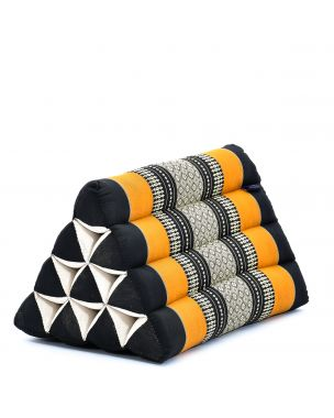 Leewadee Triangle Cushion Reading Pillow Backrest TV Pillow Eco-Friendly Organic and Natural, 20x13x13 inches, Kapok, black orange