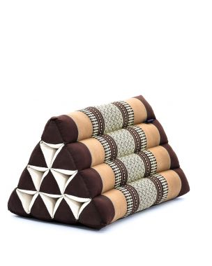 Leewadee Triangle Cushion Reading Pillow Backrest TV Pillow Eco-Friendly Organic and Natural, 20x13x13 inches, Kapok, brown