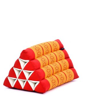 Leewadee Triangle Cushion Reading Pillow Backrest TV Pillow Eco-Friendly Organic and Natural, 20x13x13 inches, Kapok, orange red