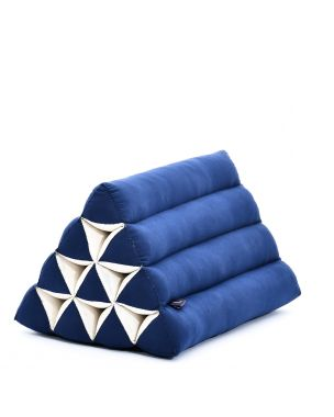 Leewadee Triangle Cushion Reading Pillow Backrest TV Pillow Eco-Friendly Organic and Natural, 20x13x13 inches, Kapok, blue