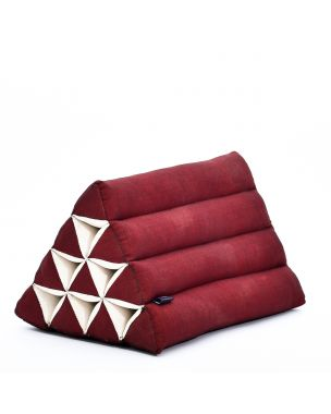 Leewadee Triangle Cushion Reading Pillow Backrest TV Pillow Eco-Friendly Organic and Natural, 20x13x13 inches, Kapok, red