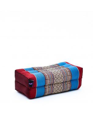 Leewadee Yoga Block Pilates Brick Eco-Friendly Organic and Natural, 14x7x5 inches, Kapok, blue red