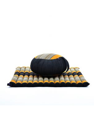 Leewadee Meditation Cushion Set: Round Zafu Pillow And Large Square Zabuton Mat For Floor Seating Eco-Friendly Organic And Natural, Kapok, black orange