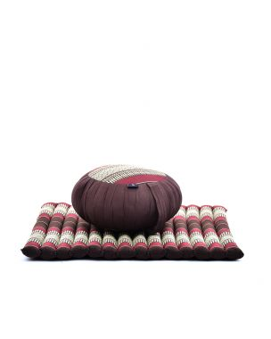 Leewadee Meditation Cushion Set: Round Zafu Pillow and Large Square Zabuton Mat For Floor Seating Eco-Friendly Organic and Natural, Kapok, brown red