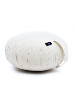 Leewadee Meditation Cushion Round Zafu Pillow For Floor Seating Eco-Friendly Organic And Natural, 16x8 inches, Kapok, white