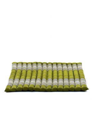Leewadee Meditation Cushion Large Square Zabuton Mat For Floor Seating Eco-Friendly Organic and Natural, 27x31x2 inches, Kapok, green