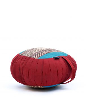 Leewadee Meditation Cushion Round Zafu Pillow For Floor Seating Eco-Friendly Organic and Natural, 16x8 inches, Kapok, blue red